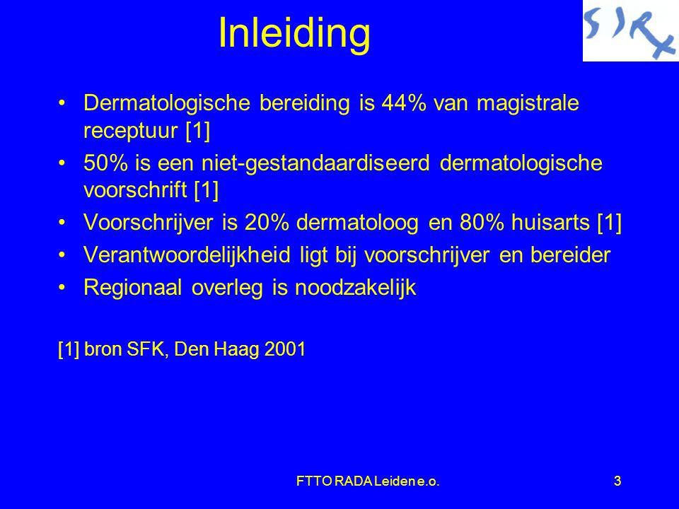 Inleiding Dermatologische bereiding is 44% van magistrale receptuur [1] 50% is een niet-gestandaardiseerd dermatologische voorschrift [1]